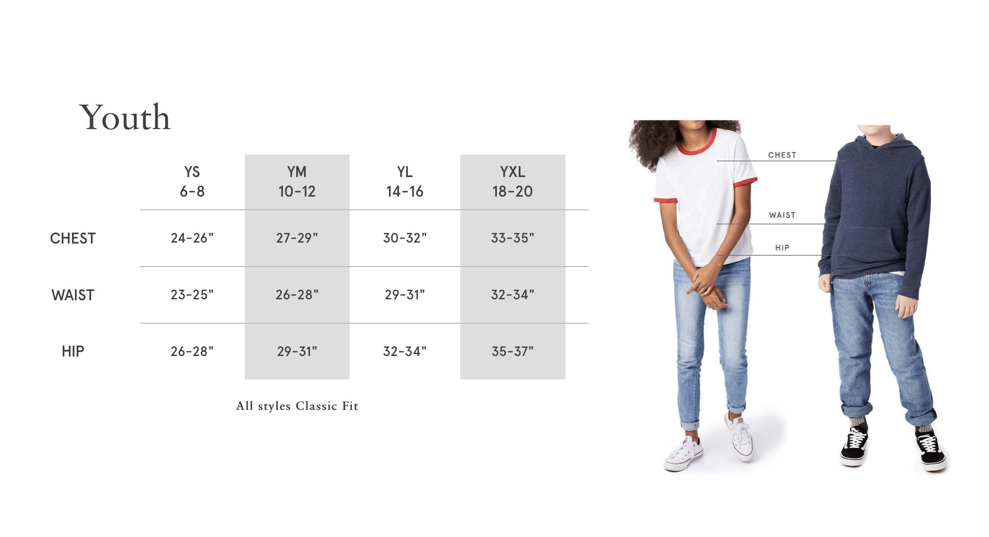 Youth AA T-Shirt Sizing Chart